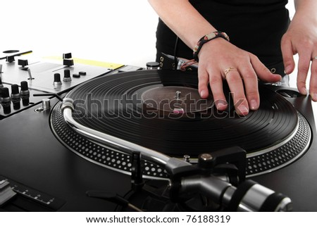 Girl DJ playing hip-hop music on turntables