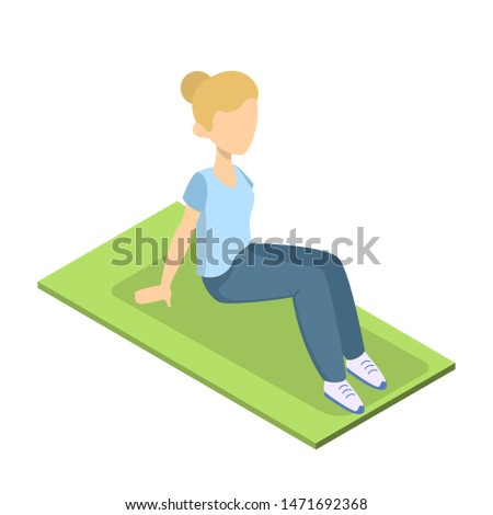 Girl doing crunches in the gym. Belly burn workout. ABS workout. Healthy and active lifestyle. Isolated  illustration