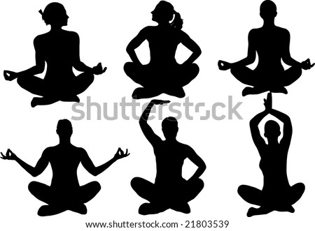 Doing yoga silhouette isolated on white illustration stock photo