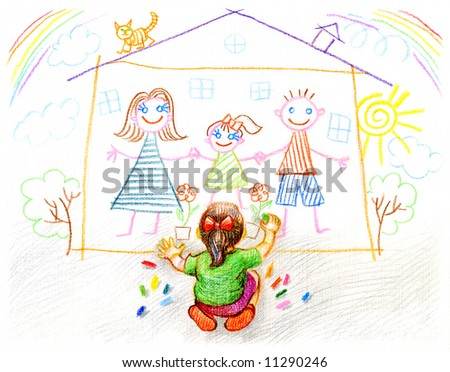 Girl Drawings Girl Draws Family And Home