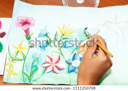 Free photos hand draw flower on paper avopix girl draws flowers with watercolor paint on paper 1111250708 mightylinksfo