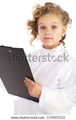 girl dressed as a nurse holding a folder. Isolated on white background