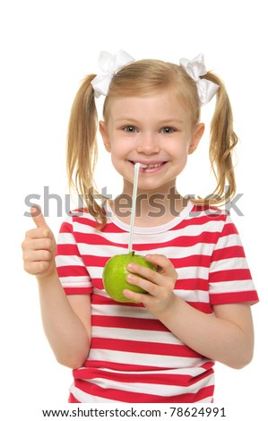 Girl drinking apple juice through straw isolated on white