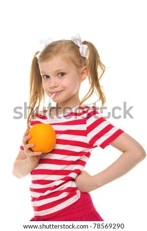 Girl drinking orange juice through straw isolated on white