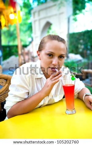 girl drinks juice
