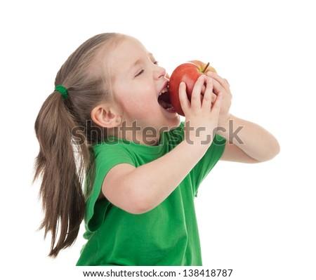 girl eat apple isolated on white