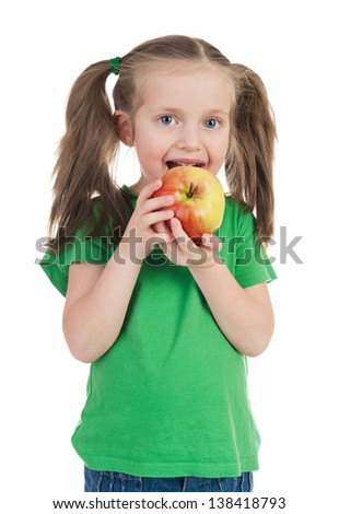 girl eat apple isolated on white