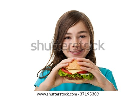 Girl eating healthy sandwich isolated on white background