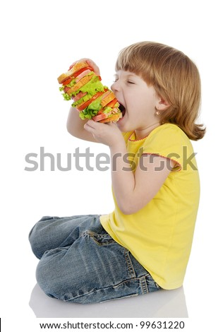 Girl Eating Sandwich. isolated on white background