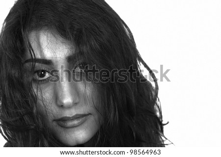 Girl emotions a face closeup with messed up look in black and white