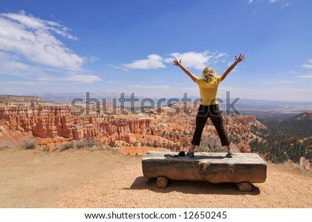 Girl enjoy landscape in Bryce Canyon national park, Utah, USA