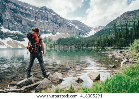Girl Explores Wall Lake situaded in Canada