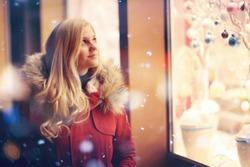 girl fashion night city lights snow purchase sales