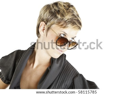 girl fashion portrait with sunglasses