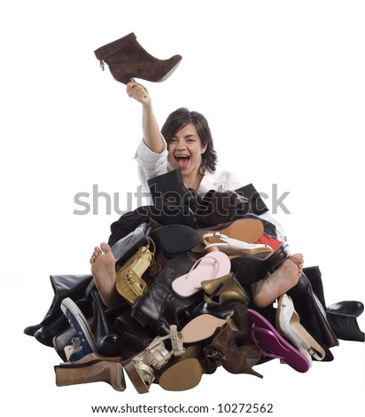 Girl finding the right shoe.