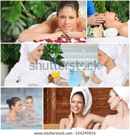 Girl friends having fun at spa