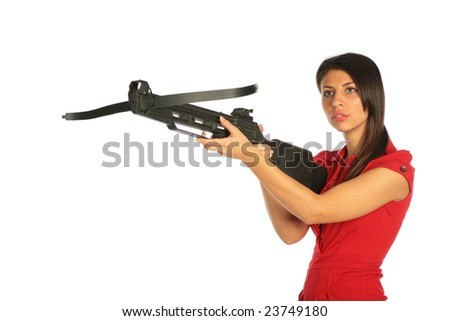 Girl gets on the hip an arbalest