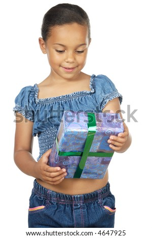 girl giving a gift a over white background