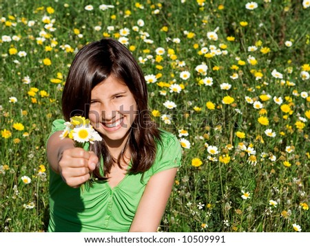 girl giving bunch flowers