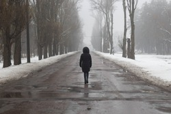 girl goes on a wet road alone. view from the back