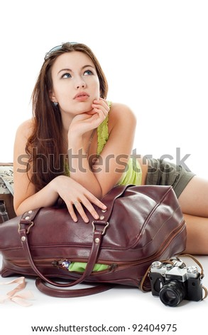 girl going on a journey, white background