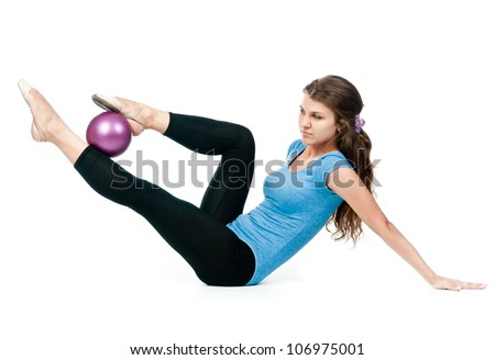 girl gymnast in blue sport suit with a ball