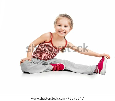 girl gymnast on a white background