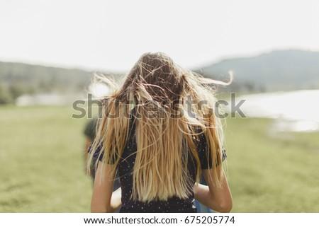 girl hair summer sun wind