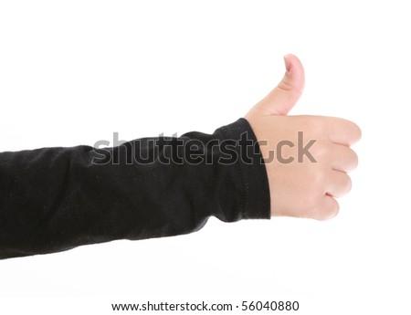 Girl hand expressing ok sign over white background