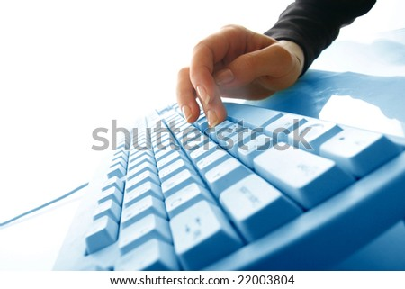 girl hands typing #22003804