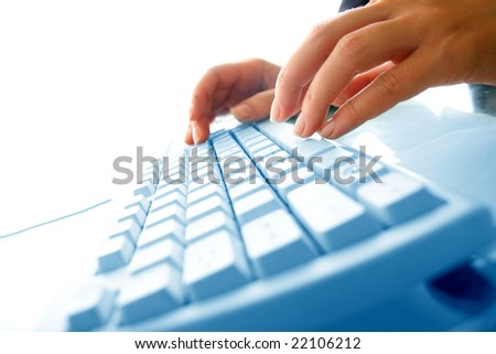 girl hands typing on keyboard #22106212