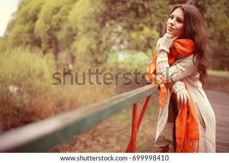 girl happy autumn park