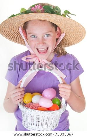 girl having fun on Easter