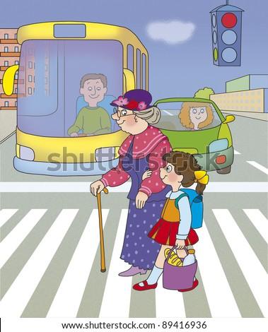 girl helps her grandmother cross the street on a green traffic light