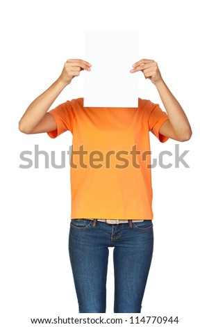 Girl Holding a Blank Paper in front of her Face