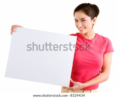 Girl Holding a Blank White Sign