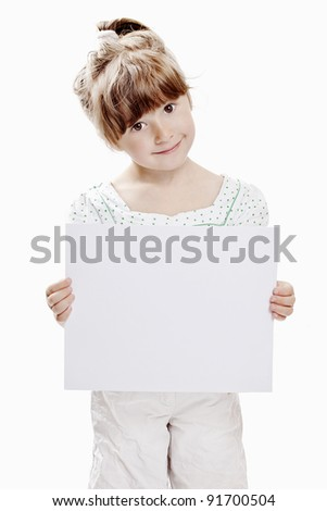girl holding blank sheet ready for your message