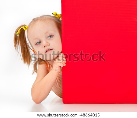 Girl holding blank sign, isolated white background