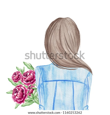 Girl holding bouquet of peonies. Hand drawn watercolor illustration