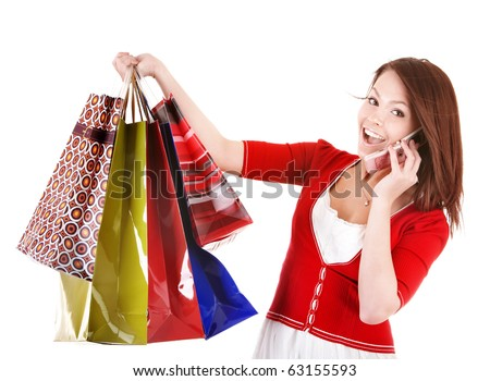 Girl holding group shopping bag call by phone. Isolated