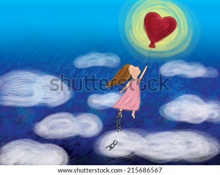 girl holding heart shape balloon flying high in dark blue sky with clouds, girl feet with broken chain representing free, freedom, love, fly, valentine, dream, hope, wish drawing background