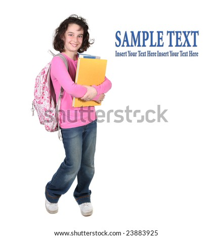 Girl Holding School Books Wearing a Backpack Smiling on White Background