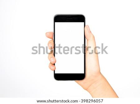 Girl holding smart phone in hand, white screen #398296057