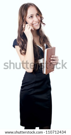 girl holding the phone isolated