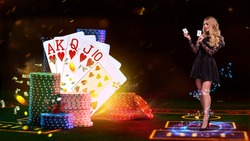 Girl holding two aces, smiling, posing on green playing table, next to stacks of chips and playing cards, flying dollars and coins. Poker, casino