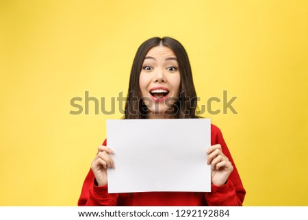 girl holds a white sheet in hands, an office worker shows a blank sheet.