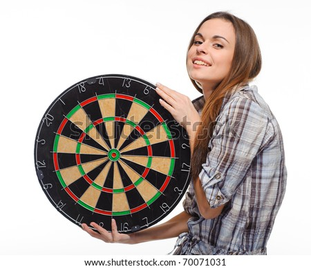 girl holds board for darts white background