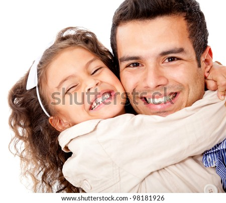 Girl hugging her father - isolated over a white background - stock photo