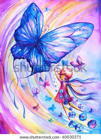 Girl imagining flying with butterflies.Picture I have created myself with watercolors and colored pencils