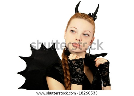 Girl in a black suit with wings